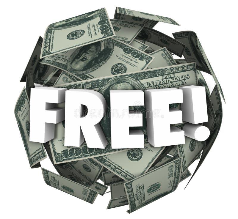 Free Money Ball Sphere Word Bonus Special Offer Deal stock illustration