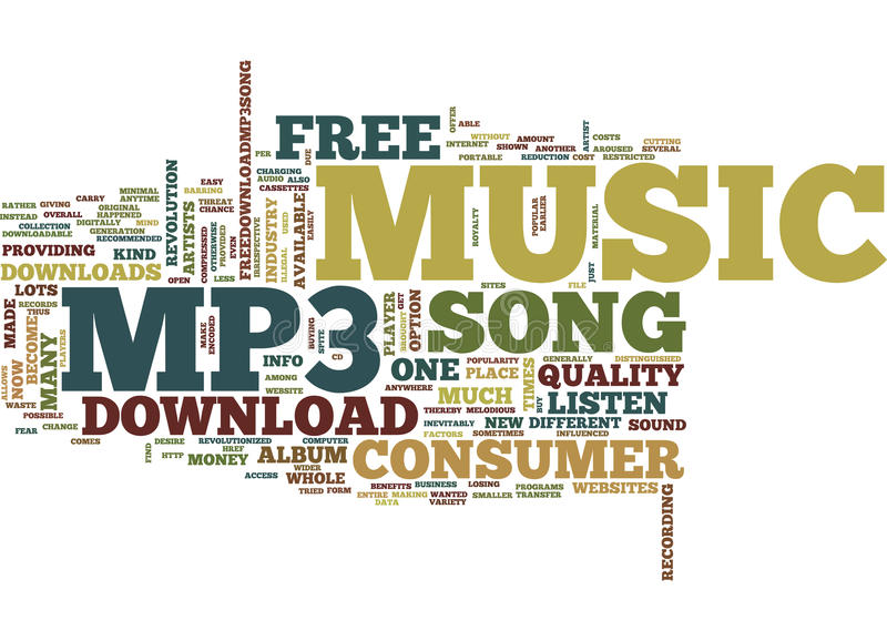 Free Mp3 Song Download Text Background Word Cloud Concept Stock