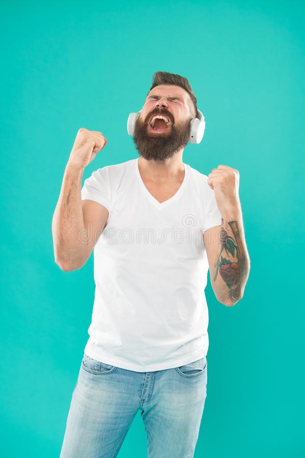 Free online music sources all work little bit differently and have many different features. Music chart. Mature hipster. With beard listening music. Stylish and stock image