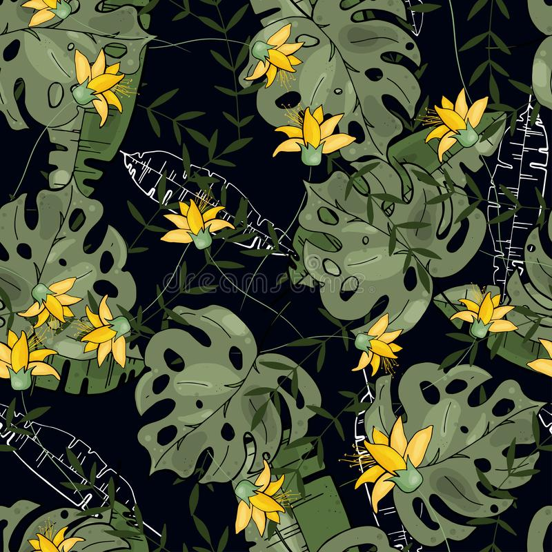 Free painting of summer leaf and yellow exotic flora, nature motifs with flowers. Seamless hawaii pattern. Vintage green palm stock illustration