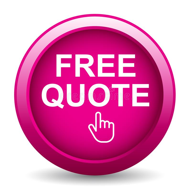 Free quote. Button - editable vector illustration on isolated white background royalty free illustration