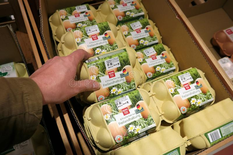 Free-range Eggs cartons at a supermarket stock images