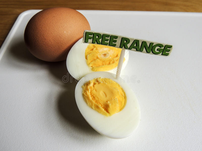 Free range, organic, hard boiled eggs. Free range, organic eggs with 'free range' sign royalty free stock photo