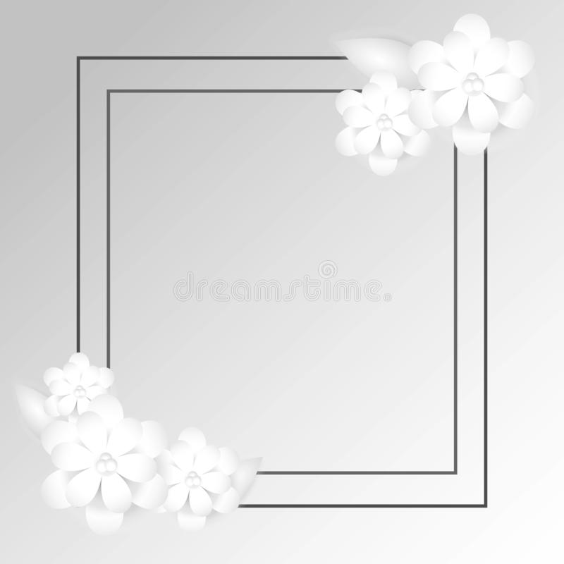 Free rectangular frame with paper flower arrangement vector illustration
