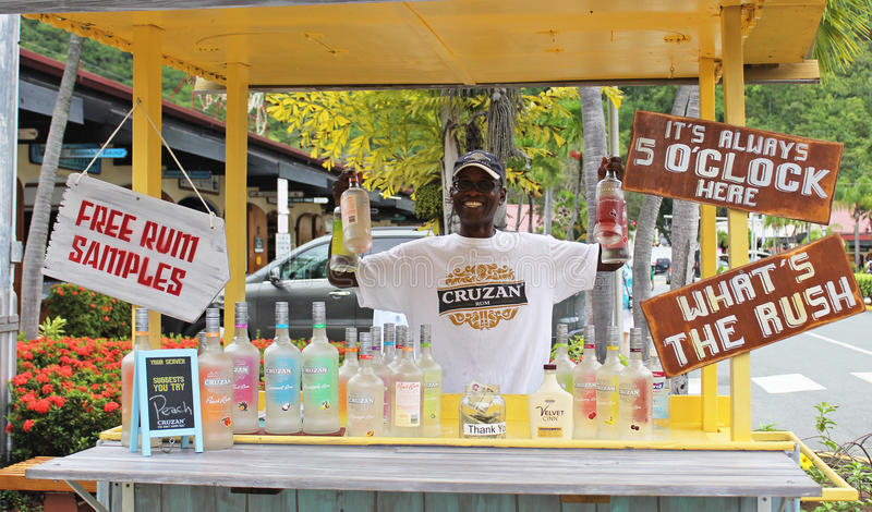 Free Rum Tasting in St. John Virgin Islands US Territory. The Cruzan Rum Company free rum sampling stand right outside on the port of St. Thomas, US Virgin royalty free stock image