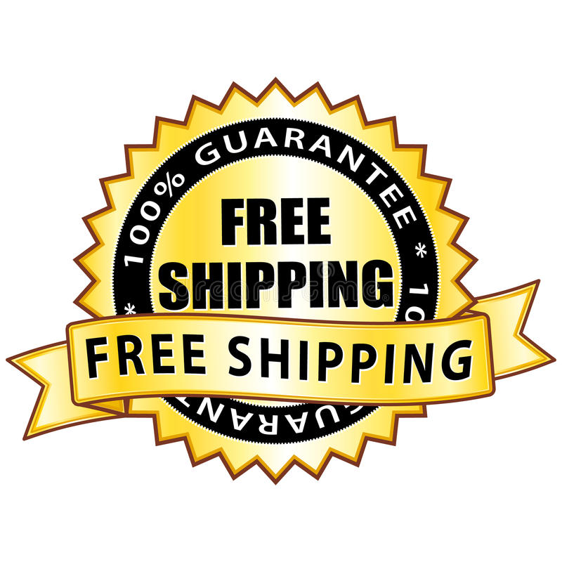 Free shipping. Golden free shipping medal isolated stock illustration