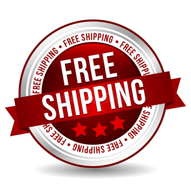 Free shipping Button - Online Badge Marketing Banner with Ribbon. royalty free illustration