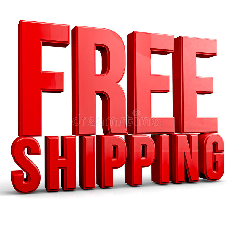 Free Shipping. 3D free shipping text on white background vector illustration