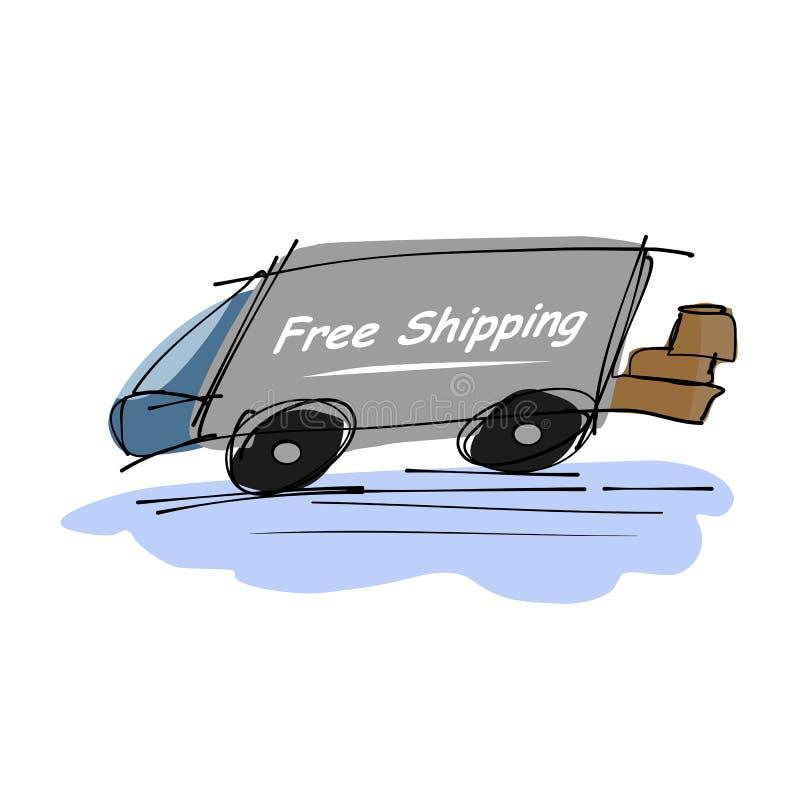 Free shipping truck stock photo