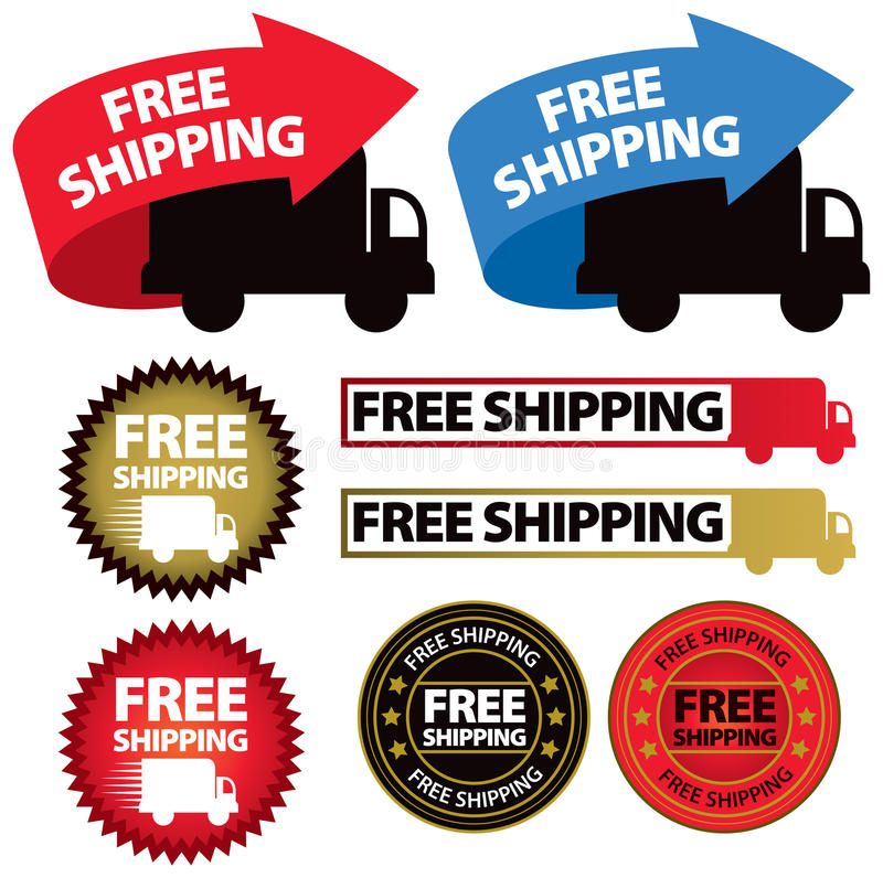 Free Shipping Icon. A set of icon images of free shipping, with trucks and arrows and labels stock illustration