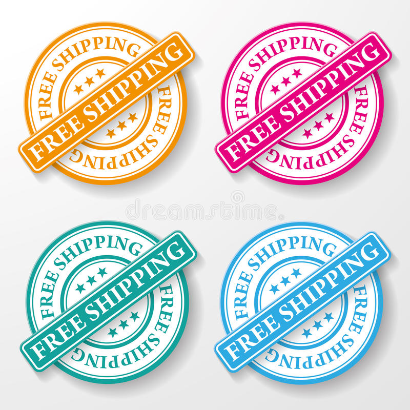 Free Shipping Paper Labels vector illustration