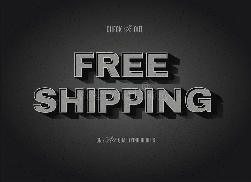 Free Shipping retro sign. Vintage movie or retro cinema text effect advertising vector free shipping sign vector illustration