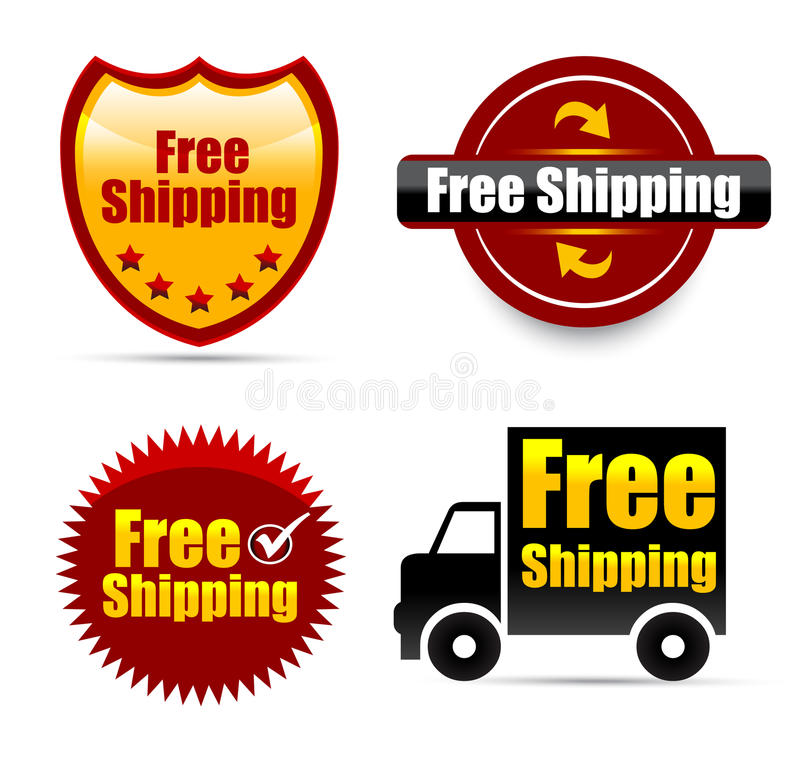 Free shipping. Set of four free shipping icons in different designs stock illustration