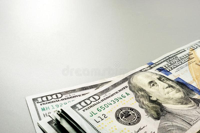 Free space and cash. Stack of dollar banknotes royalty free stock photo