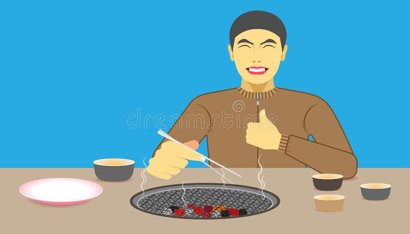 Free space on the chalice dish and charcoal toaster for your food promotion. a man happy while eating meal recommended and acting. Give a like on left hand and vector illustration