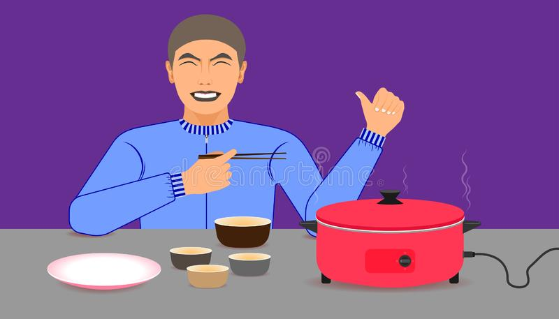 Free space on the chalice  dish and electric pan for your food promotion. a man happy while eating meal recommended and acting. Give a like on left hand and vector illustration