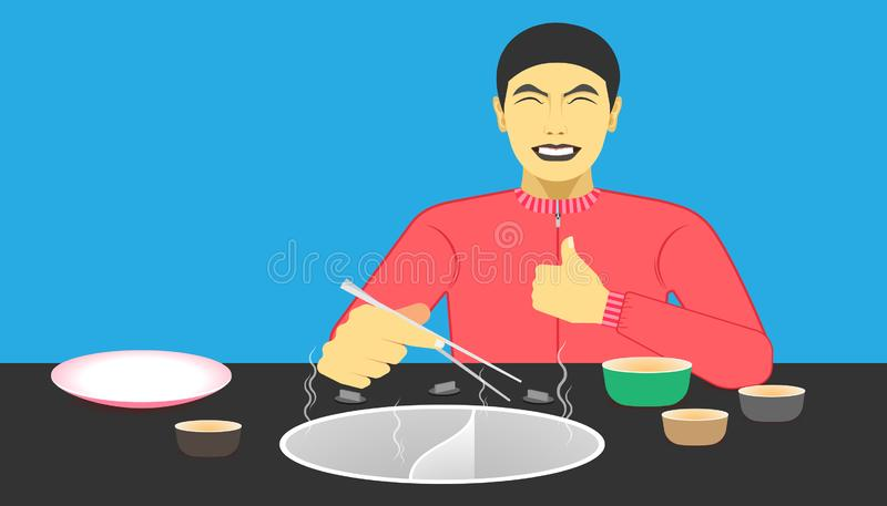 Free space on the chalice dish and electric pot for your food promotion. a man happy while eating meal recommended and acting give. A like on left hand and royalty free illustration