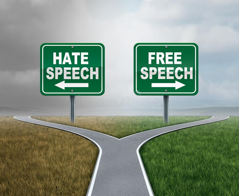 Free Speech And Hate. Talk as freedom or hatred symbol as opposite political directions with 3D illustration elements vector illustration