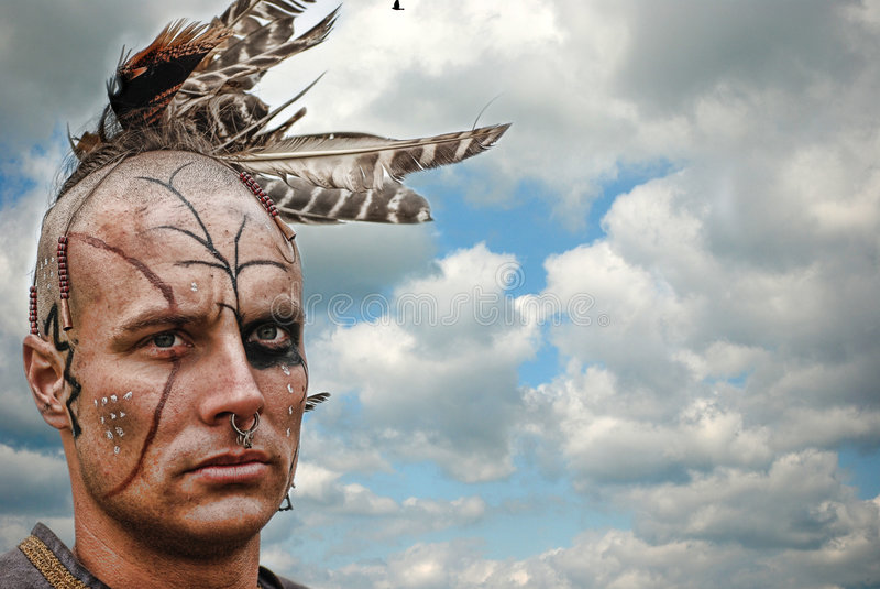 Native American with feathers royalty free stock images