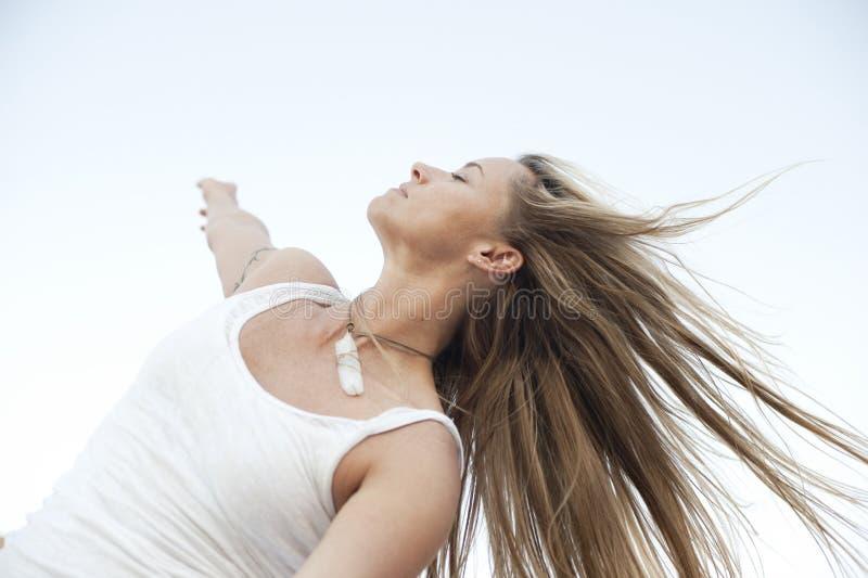 Free Spirit Woman Moving Meditation royalty free stock photography