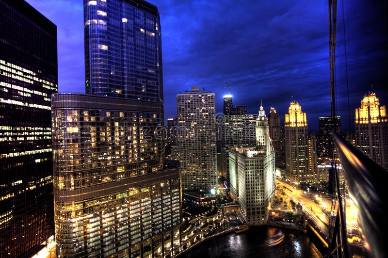 Free Stock Photos – Chicago Skyline At Night from Hotel 71 on Wacker Drive stock images