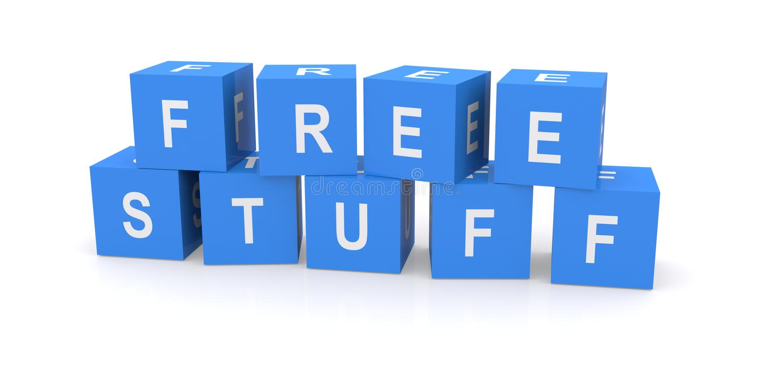 Free stuff sign. 3d illustration of letter blocks spelling free stuff, white background stock photo