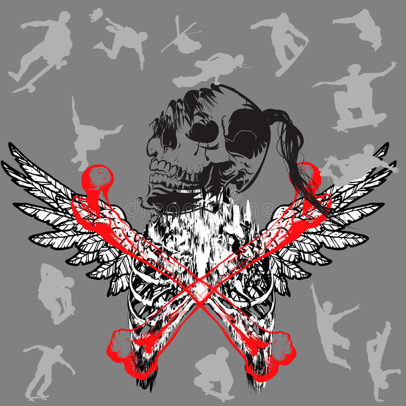 Free style demon. Vector illustration - skeleton as free style demon stock illustration