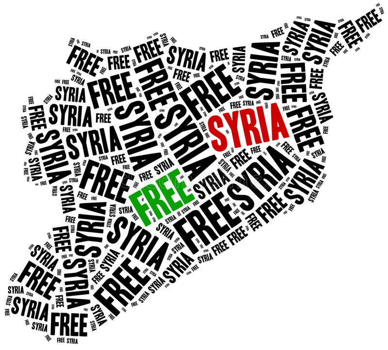 Free Syria. Word cloud illustration related to syrian civil war. royalty free illustration
