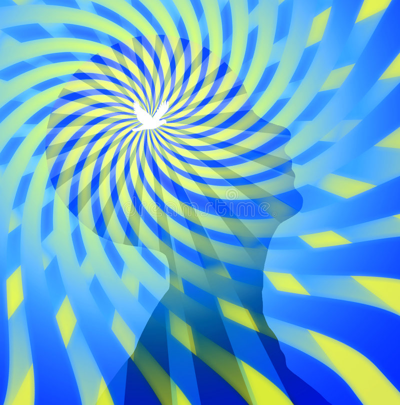 Free Thinking. Swirling rays emanate from head with white bird at center stock illustration