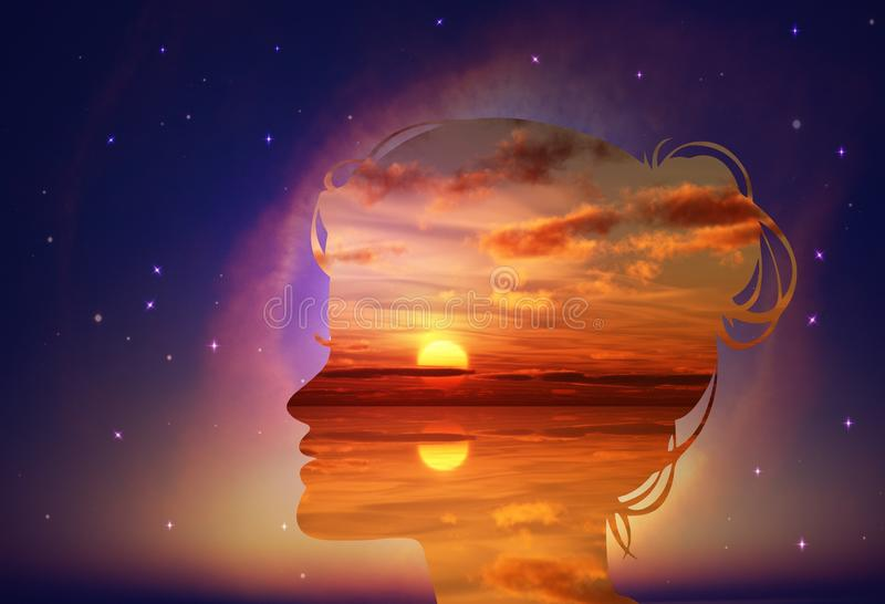 Free thinking, nourish your mind, positive thoughts and good intentions, brain power concept royalty free stock photos