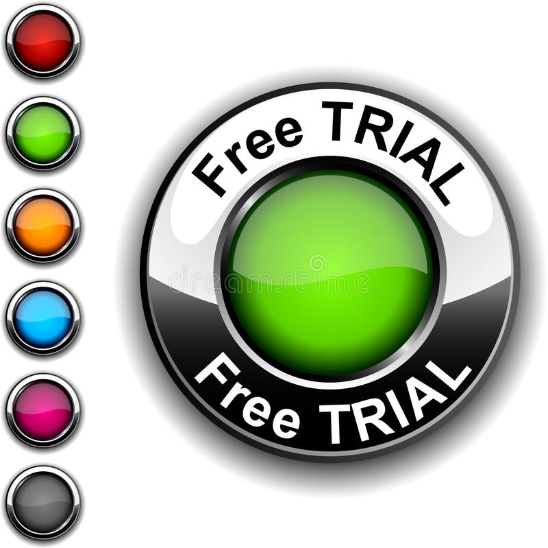 Free trial button. Free trial realistic green button vector illustration