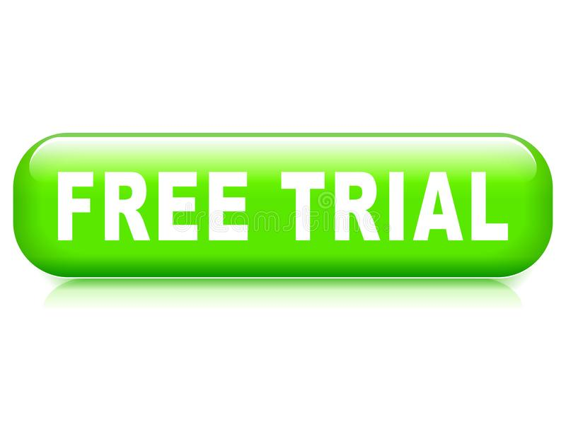 Free trial button. Illustration of free trial button on white background stock illustration