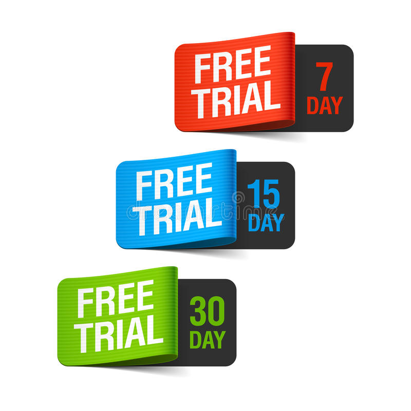 Free trial labels vector illustration