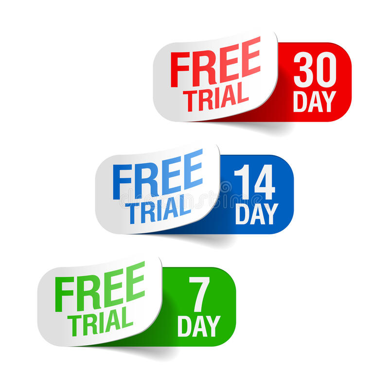 Free trial signs stock illustration