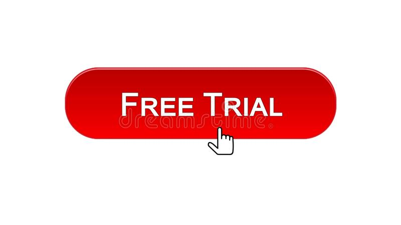 Free trial web interface button clicked with mouse cursor, red color, software. Stock footage vector illustration