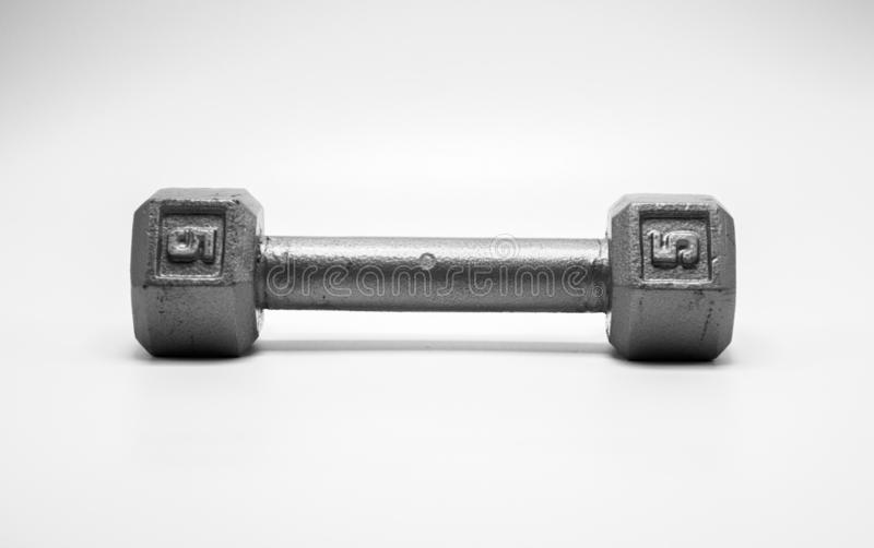1 free weight dumbbell isolated on white royalty free stock photography