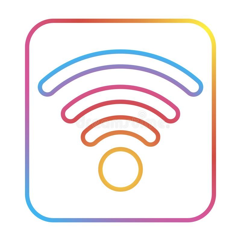 Free wi-fi isolated logo wireless, for graphic design. Wifi symbol. Free wi-fi isolated logo wireless. Wifi symbol. for web design with modern gradient stock illustration