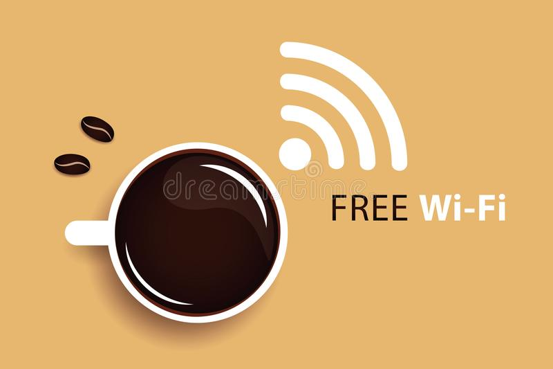 Free Wi-Fi symbol black coffee stock illustration