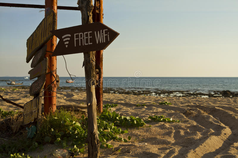 Free wifi on the beach. At the sunset, Koh Haa, Thailand stock images