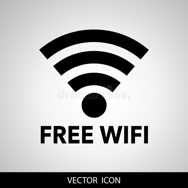 Free wifi black gray modern web-based vector design and smartphone icon. Black icon isolated on a gray background. Vector i. Llustration stock illustration