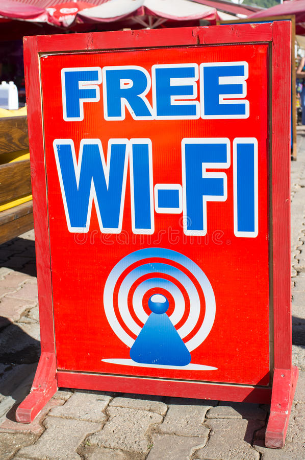 Free Wifi. An A Board indicating that the venue is offering free wifi stock photos