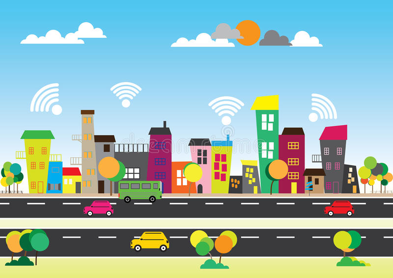 Free wifi in the city. Concept social media city. Free wifi in the city royalty free illustration