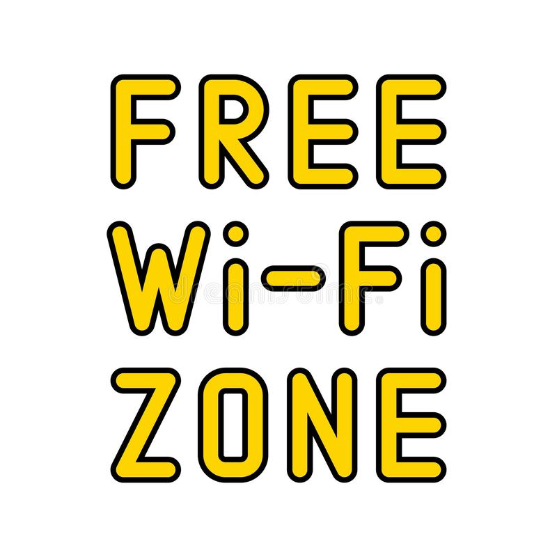 Free WiFi logo icon, wireless local area networking vector. Illustration stock illustration