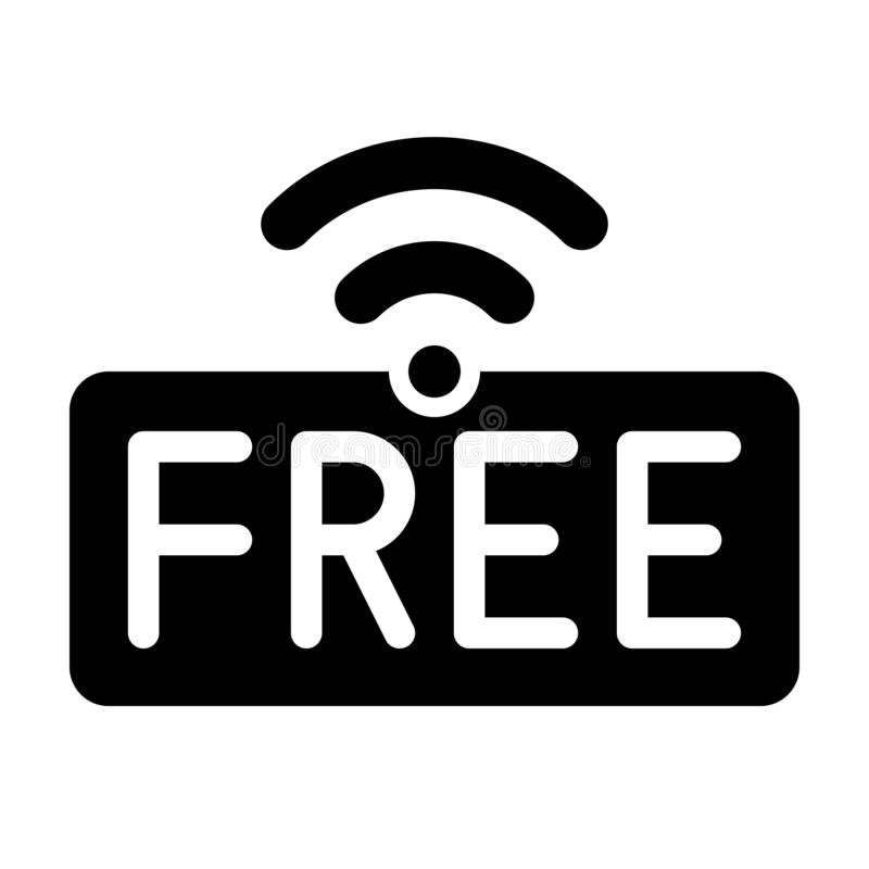 Free WiFi logo icon, wireless local area networking vector. Illustration royalty free illustration