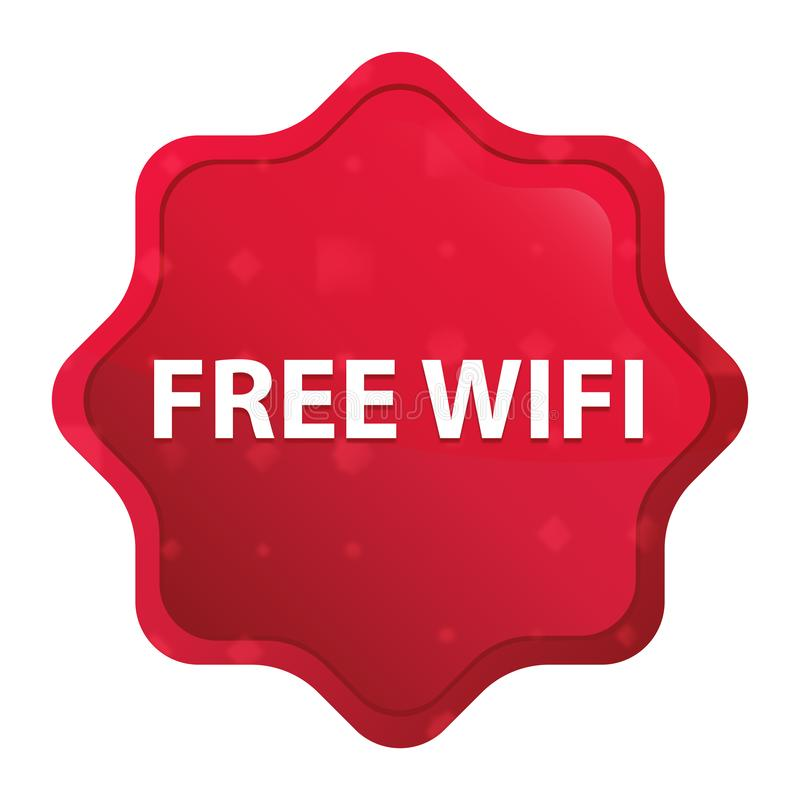 Free Wifi misty rose red starburst sticker button royalty free illustration