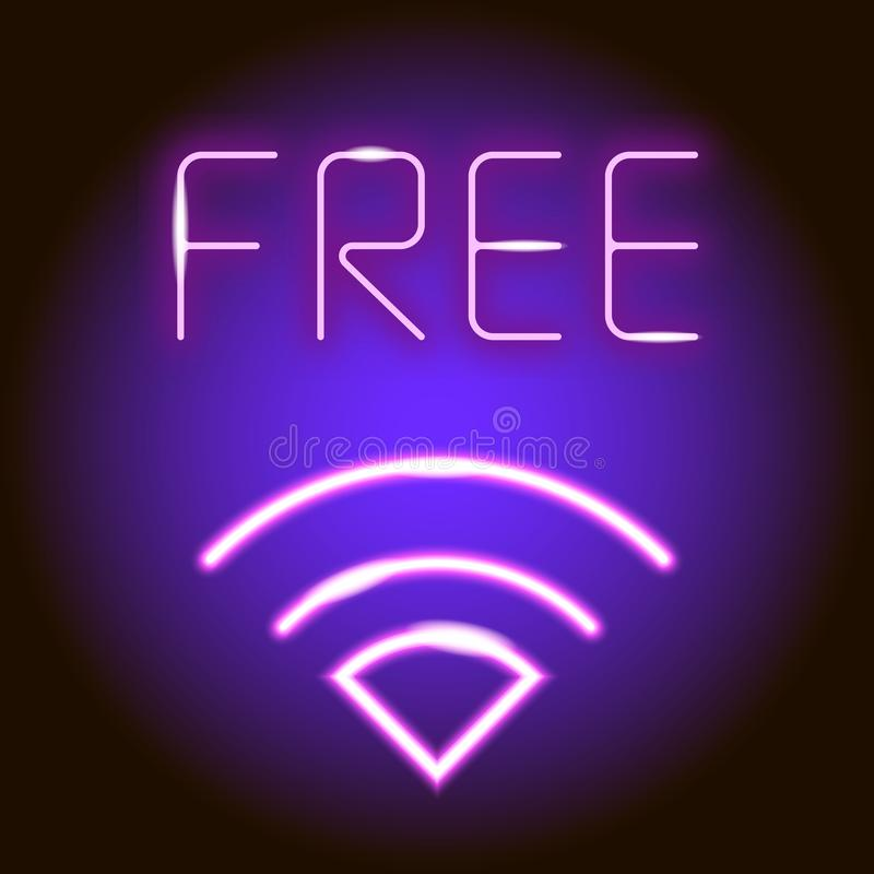 Free Wifi - neon sign. Wireless internet access point. Vector illustration royalty free illustration