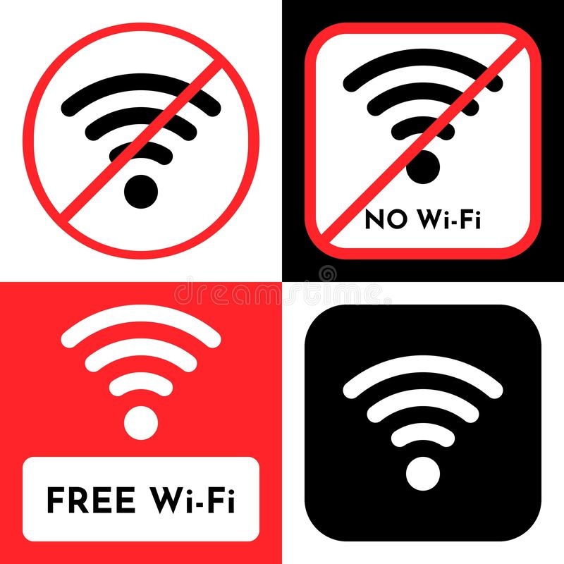 Free WiFi and No WiFi sign, wireless local area networking vector. Free WiFi logo icon, wireless local area networking vector illustration royalty free illustration