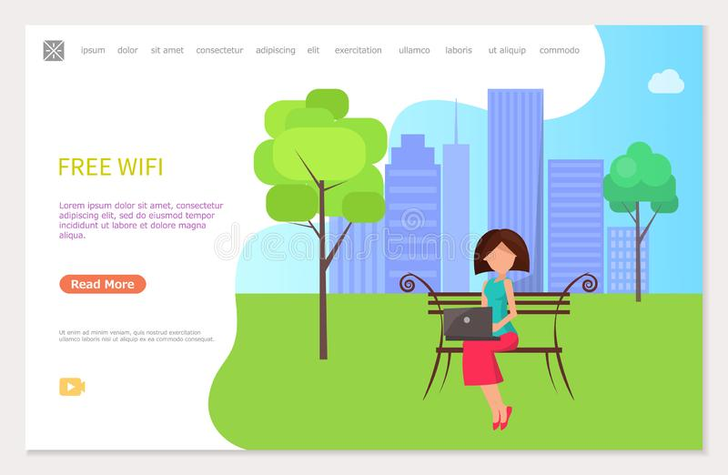 Free Wifi Zone in City Park Woman Sitting on Bench. Free wifi zone in city park, woman sitting on bench working at laptop. Web page template with freelance royalty free illustration