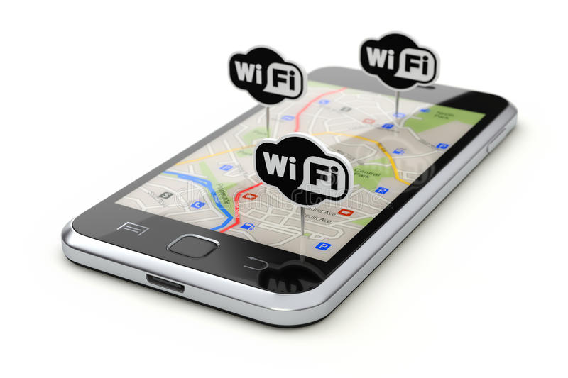 Free wifi zone concept. Wifi zone concept with wifi boards and mobile with abstract city map stock illustration