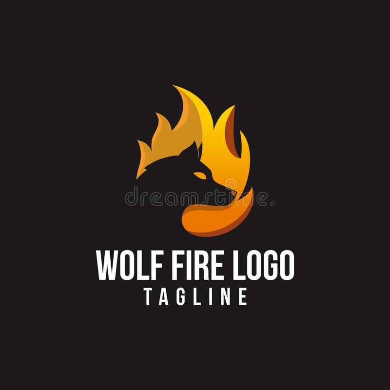 Free wolf fire logo vector stock illustration